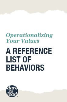 Operationalizing your values: A reference list of behaviors